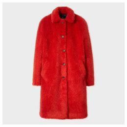 Women's Red Teddy Bear Cocoon Coat