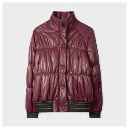 Women's Burgundy Quilted Coat With Striped Waistband And Cuffs