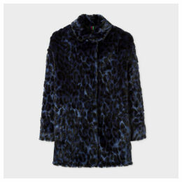Women's Dark Navy Faux Fur Leopard Coat