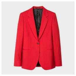 A Suit To Travel In - Women's Red Two-Button Wool Blazer
