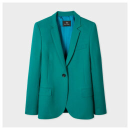 Women's Forest Green Wool-Hopsack Blazer With 'UFO' Print Lining