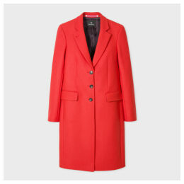 Women's Red Wool And Cashmere-Blend Three-Button Epsom Coat