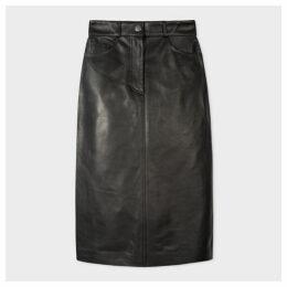 Women's Black Leather Midi Pencil Skirt