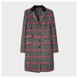 Women's Black And Grey Check Wool-Blend Epsom Coat