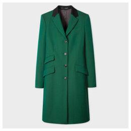 Women's Emerald Green Four-Button Wool Epsom Coat