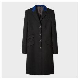 Women's Black Four-Button Wool Epsom Coat