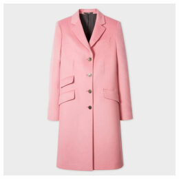 Women's Pink Four-Button Wool-Cashmere Epsom Coat