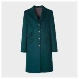 Women's Dark Teal Four-Button Wool-Cashmere Epsom Coat