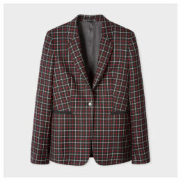 Women's Slim-Fit Black And Red Check Wool Blazer