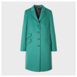 Women's Teal Four-Button Wool-Cashmere Epsom Coat
