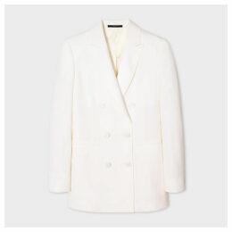 Women's Ivory Double-Breasted Tuxedo Wool Blazer