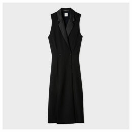 Women's Black Tuxedo Double-Breasted Dress With Satin Detail