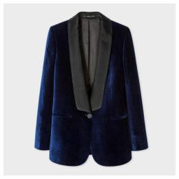 Women's Navy Velvet Tuxedo Blazer With Satin Shawl Collar