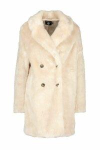 Womens Double Breasted Faux Fur Coat - beige - 8, Beige