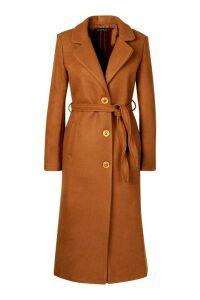 Womens Tall Wool Belted Longline Coat - beige - M, Beige