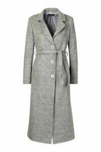Womens Tall Wool Belted Longline Coat - grey - M, Grey