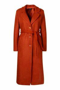 Womens Tall Wool Belted Longline Coat - orange - M, Orange