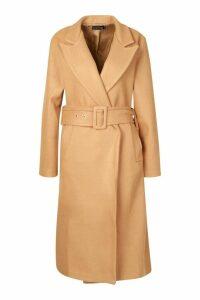 Womens Tall Self Fabric Belted Longline Wool Coat - beige - M/L, Beige
