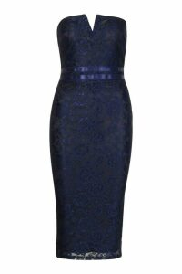 Womens Lace Bandeau Midi Dress - navy - 14, Navy