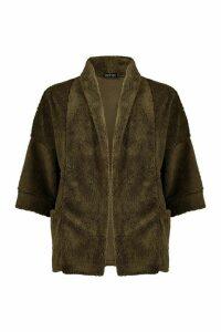 Womens Edge To Edge Shawl Collar Coat In Teddy Fleece - green - M, Green