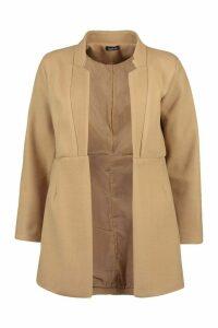 Womens Notch Neck Edge To Edge Wool Look Coat - beige - 8, Beige