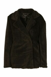 Womens Petite Double Breasted Cropped Teddy Coat - black - 14, Black