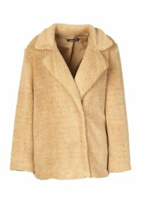 Womens Petite Double Breasted Cropped Teddy Coat - beige - 12, Beige