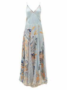 Camilla - Fraser Fantasia Godet-insert Silk Slip Dress - Womens - Blue Print