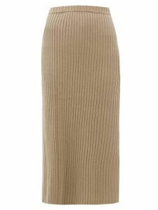 Allude - Rib-knitted Cashmere Midi Skirt - Womens - Brown