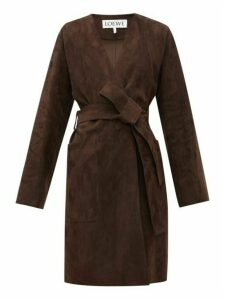 Loewe - Single-breasted Wrap Suede Coat - Womens - Dark Brown