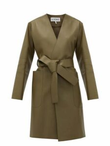 Loewe - V-neck Belted Leather Coat - Womens - Khaki