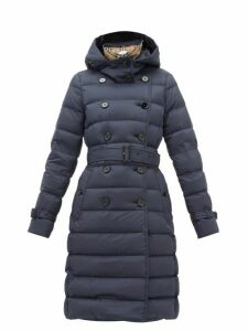 Burberry - Arniston Double-breasted Quilted-shell Coat - Womens - Navy