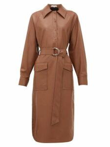 Tibi - Belted Faux Leather Shirtdress - Womens - Brown
