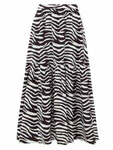 Staud - Orchid Zebra-print Cotton-blend Midi Skirt - Womens - Black White