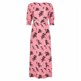 Baum Und Pferdgarten Aiden Pink Floral-print Midi Dress