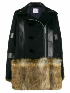 Sacai fur panel coat - Blue