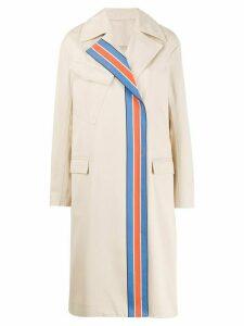 Victoria Victoria Beckham striped panel trench coat - NEUTRALS