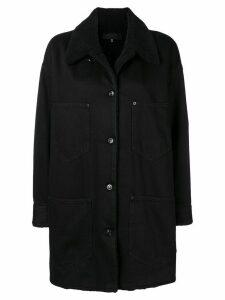 Mm6 Maison Margiela shearling collar denim coat - Black