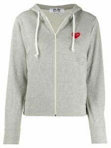 Comme Des Garçons Play zipped almond eye heart hoodie - Grey
