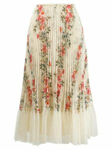 Red Valentino floral print pleated skirt - NEUTRALS