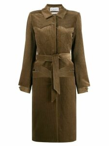 Situationist belted corduroy coat - Brown