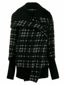 Ann Demeulemeester check oversized coat - Black