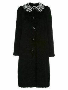 Batsheva animal-print contrast coat - Black