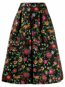 La Doublej floral flared midi skirt - Black
