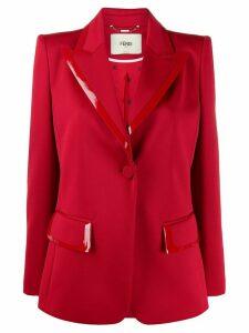 Fendi single-breasted leather-trim blazer - Red