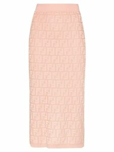 Fendi logo jacquard pencil skirt - PINK