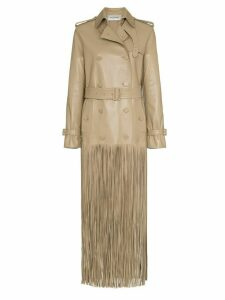 Valentino Fringed hem leather trench coat - NEUTRALS