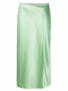 T By Alexander Wang split-hem satin midi skirt - Green