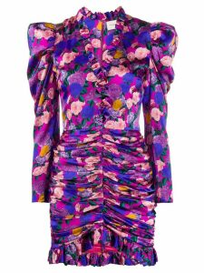Giuseppe Di Morabito ruched rose-print dress - PURPLE
