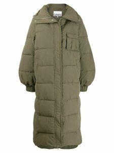 GANNI long padded coat - Green